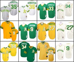 Wholesale MEN Reggie Jackson Rickey Henderson Catfish Hunter Rollie Fingers Canseco Jersey Mitchell And Ness Oakland Athletics stitched
