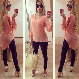Wholesale Al por mayor Vrouwen encabeza en blusas modo de Nieuwe o Hals blusa ocasional dames valor seguro Roze losse camisas vrouwen Blusas Femininas
