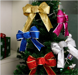 Wholesale Christmas Tree Decorations Large Big Butterfly Ornament Bowknot Red Bowknot Hanging Decor Party Home Decoration New Year Festival Supplier