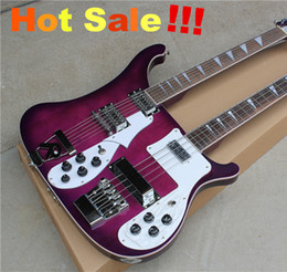 Two-neck 12-string Guitar and 4-string Electric Bass,Purple Body,White Pickguard,Rosewood Fretboard,Can be changed