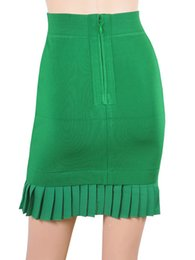 Wholesale 2016 womens fashion green skirts luxury brand design pleated mini skirt tight fit bodycon office lady clothing formal apparel for woman