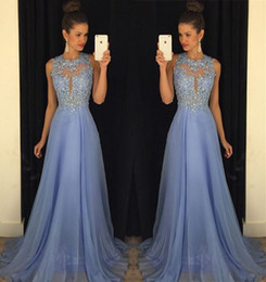 Latest Jewel Neck Chiffon Prom Dresses Appliques Beaded Fashion Backless Elegant Real Party Evening Dresses Evening Gowns