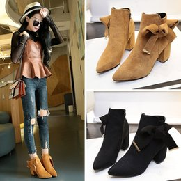 women shoes 2017 autumn and winter new pointed suede frosted boots thick with the side zipper Martin boots bow shoes