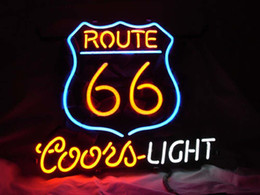 ROUTE 66 COORS LIGHT BEER Real Glass Neon Light Sign Home Beer Bar Pub Recreation Room Game Room Windows Garage Wall Sign