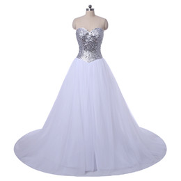 Sweetheart Crystal Beaded Ball Gown Wedding Dress 2016 Romantic Chapel Train Wedding Gown Lace Up Fast Shipping