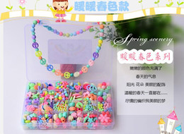 Wholesale 1Set Mixed Beautiful Candy Acrylic Beads With Hole For Early Childhood Education Jewelry Craft DIY Necklace Bracelet Puzzle Game E15