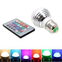 Wholesale 5Pcs E27 W Magic RGB Colors Changing LED Light Bulb Remote Control Energy V Dimmable Holiday RGB lighting IR Remote Control