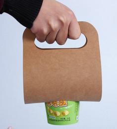Latas de papel en venta-Puede ser impreso el logotipo té de la leche tazas de café taza de la bebida bolsa de papel marrón taza de jugo de embalaje bolsa de papel portátil individual Copa