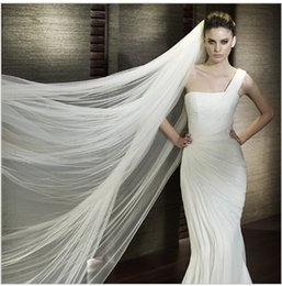 Wholesale Hot Sale Lady Wedding Veils Mantilla Cathedral Bridal Veil Embroidered Lace Long Train Shipping s vestidos brancos em renda