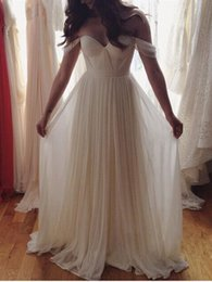 Simple Country Beach Wedding Dresses 2016 Off Shoulder Pleats Draped Plus Size Rustic Garden Wedding Gowns