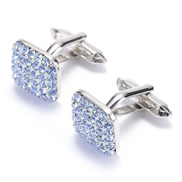Free shipping 2016 New blue Crystal Cuff link Wholesale Buttons designer High Quality shirt cufflinks for mens 980018