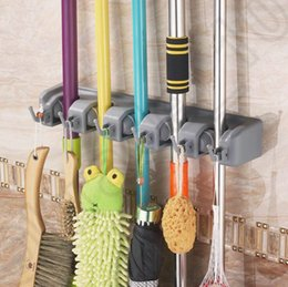 Wholesale JJA49 Home Broom Kitchen Wall Mounted Mop Hangers Holder Storage Useful Garden Tools Organizer Positions