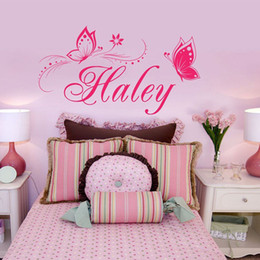 Wholesale New Butterfly Wall Stickers Customer made Name Personalized Name Wall Decals for Bedroom Gilrs Room Decor WS320