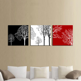 Colorful Tree Modern 3 Panels Giclee Canvas Artwork Flowe Pictures Photo Painting on Canvas Wall Art for Home Office Decor Wooden Framed