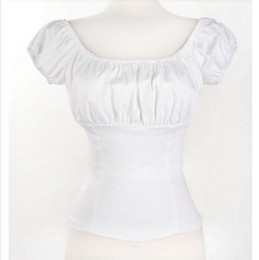 Women Rockabilly White Pinup Peasant Tops Off Shoulder Blouse Sexy Shirt