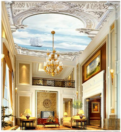 Wholesale Custom d wallpaper d ceiling wallpaper murals wall Elegant european style white palace arch sailing on the sea view zenith wall decortion