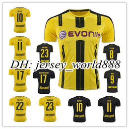 Wholesale Top Thai quality Dortmund home yellow soccer jersey AUBAMEYANG GOTZE MOR KAGAWA REUS SAHIN away black football shirt