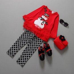 Wholesale Long Style Blouse Patterns - Baby Girls Christmas Cartoon Snowman Pattern Red Blouse+Black White Pant Suit Christmas Clothes Hoilday Children Clothes Xmas Clothes