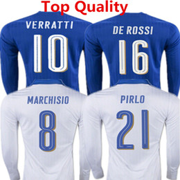 Wholesale 2016 Euro Cup Italy Long Sleeve Soccer Jersey Pirlo manica lunga Shirts Verratti El Shaarawy Marchisio Italy Full Sleeve Maillot de foot