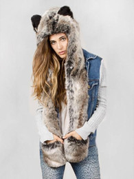 Wholesale Scarfs For Women Hood - 10Piece LOT 2016 NEW Style Hood SPIRIT FAUX FUR ANIMAL WINTER HATS WITH LONG SCARF High Quality for Promotion