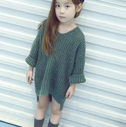 Wholesale 2016 Autumn Girls Long Tops Sweater Baby Kids V Neck Knitted Pullovers Children Girl Knitwears Sweaters Gray Green Brown