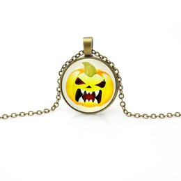 Wholesale 2016 New D halloween charm pendant neckalce jewelry jewellery halloween antique silver bronze skull pumpkin