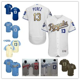 Wholesale 2016 Kansas City Royals Salvador Perez Authentic Jersey White grey blue Gold Program Flexbase Collection Baseball Jersey Best Quality
