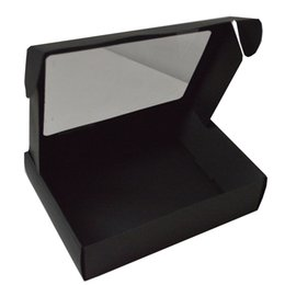 Wholesale 500pcs cm foldable shipping paper box with window for gift package reusable factory price customer logo