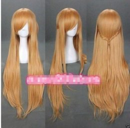 Perruques de haute qualité en ligne à vendre-100% tout neuf de haute qualité mode image cheveux perruques Fashion Light Brown Sword Art Online Asuna Yuuki Anime cosplay perruque