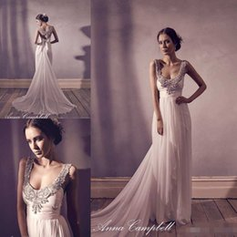 Wholesale Anna Campbell Scoop Neck Backless Sheath Wedding Dresses Lace Beaded Appliques Beaded Bow Belt Ruched Sweep Train Bridal Gowns