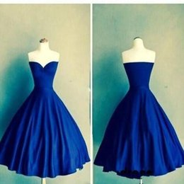Wholesale Satin Tight Knee Length Dresses - Sexy Gathered Romantic Royal blue Ball Gown sweetheart simple tight Custom Made homecoming prom gown dress