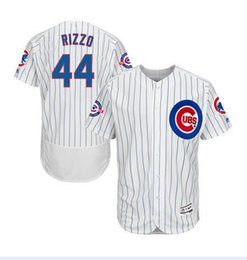 Wholesale MENS CHICAGO CUBS ANTHONY RIZZO WHITE ROYAL PINSTRIPE BASEBALL JERSEY W YEARS AT WRIGLEY FIELD PATCH