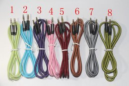 Wholesale 1M FET Net Mesh Audio AUX Cable mm Braided Auxiliary Male To Male for Iphone ipad samsung s6 cheapest