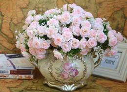 Tissu faux fleurs florales artificielles 15 têtes roses / bouquet bouquet 3.5cm Décor de maison de Noël à partir de tissu rose têtes fournisseurs