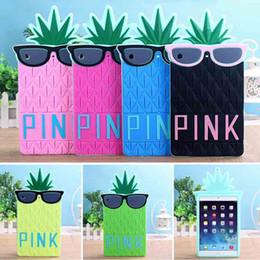 Funda de silicona rosa de mini ipad en Línea-Casos 3D de dibujos animados de piña letras rosadas de vidrio silicón lindo encantador suave cubierta posterior para el iPad Mini 123 del iPad de aire 234