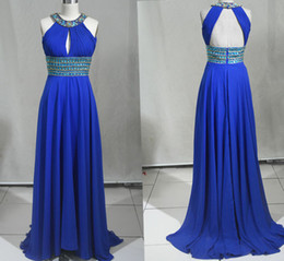 Halter Neck Beaded Crystal Long Chiffon Evening Dress 2016 Backless Evening Gowns With Pleats Floor Length