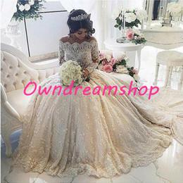 Wholesale Beaded Crystal Wedding Dresses Lace Full Sleeves Appliques Romantic Vestido De Novia Long Wedding Dress Turkey Sequins Casamento Pearls Gown