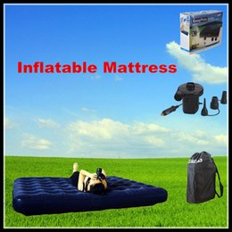 Wholesale Top Quality Inflatable Mattress Flocking air cushion bed corduroy Double camping air bed Provide air pump DHL Free