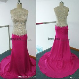 Real Image Pink 2016 Prom Dresses High Neck Crystal Beading Sequins Mermaid Court Train Prom Dresses Dhyz 01