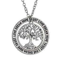 """Hot ! 50pcs New Europe and America Happy Tree Necklace """"love dream hope trust"""" Pendant Necklace"""