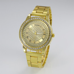 Foreign trade adicolo watch Geneva full diamond diamond gold watch watch fashion Steel Watch Watch Geneva quartz watch wholesale Free Shippi
