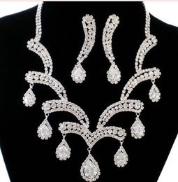 white color diamond crystal lady's set necklace earings bride wedding jewelry
