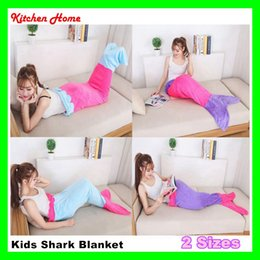 Wholesale Kids Shark Blanket Super Soft Hand Children Sofa Mermaid Blanket Air condition blanket Crocheted Popular Fashion Girls Sleeping Bag