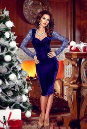 Royal Blue Short Velvet Prom Party Dresses Knee Length Back Hollow Lace Sheath Evening Party Gowns Vestidos de Festa Long Sleeve