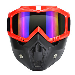 Wholesale 2017 New Motocross Motorcycle Helmet Mask Detachable Goggles And Mouth Filter Perfect for Open Face Half Helmet Vintage Helmets