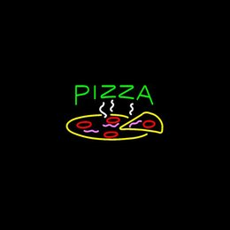 PIZZA Real Glass Neon Light Sign Home Beer Bar Pub Recreation Room Game Room Windows Garage Wall Sign