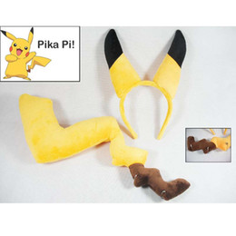 Wholesale Poke Pikachu Mon Ears And Tail Dress Up Kit Pikachu Ear Hair Bands Hair Accessories Hairpin Party Cosplay