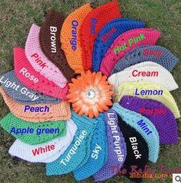 Wholesale Cloche Crochet Wholesale - Warm Handmade Princess Flower Baby Hat for Girls Crochet Beanie Knitted Cap Newborn Photography props kids winter hats hight quality free sh