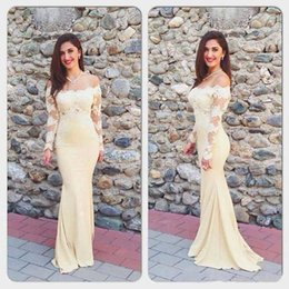 Wholesale Sexy Latin American Long Prom Dresses Long Sleeve Applique Mermaid Off shoulder Mermaid Evening Dress New Special Occasion Gowns