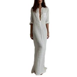 Fashion Vestidos 2016 Summer Women Sexy Dress Long Sleeve Deep V Neck Linen Split Solid Long Maxi Dress Plus Size free shipping